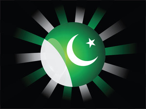 Rays Background With Pakistan Flag Icons