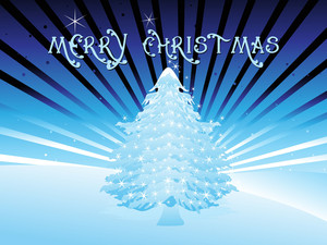 Rays Background With Xmas Tree