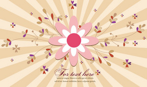 Rays With Floral Vector Illustration