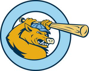 Razorback Wild Pig Playing Baseball Bat