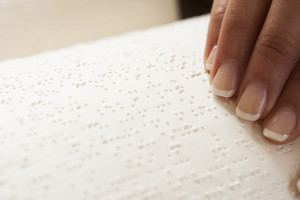 Reading braille book