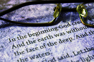 Reading  Glasses On Bible Text