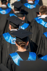 Rear view of a group of college graduates