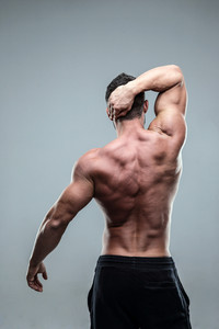 Rear view of a muscular man