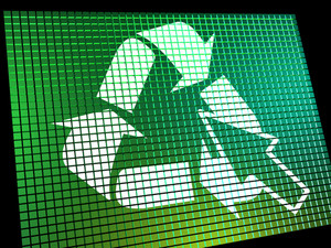 Recycle Icon Computer Screen Shows Recycling And Eco Friendly