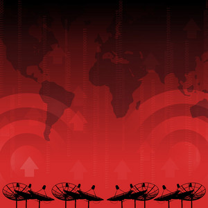 Red alert : Satellite dish transmission data on red background