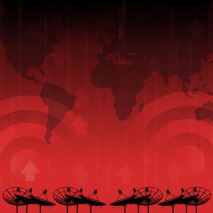 Red alert : Satellite dish transmission data on red background