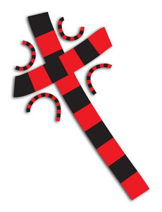 Red And Black Abstract Cross