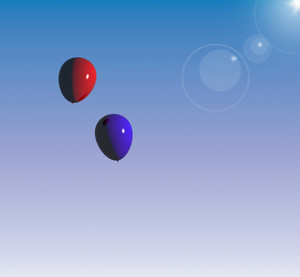 Red And Blue Balloon Floating In The Sky Representing Togetherness