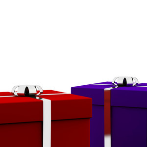 Red And Blue Gift Boxes With White Background As Presents For Him And Her