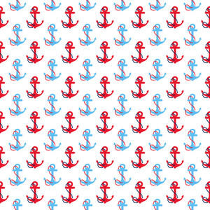 Red And Blue Nautical Anchor Pattern