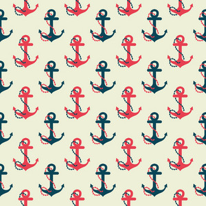 Red And Blue Retro Anchor Pattern On A White Background