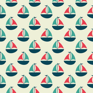 Red And Blue Retro Sailboat Pattern On A White Background