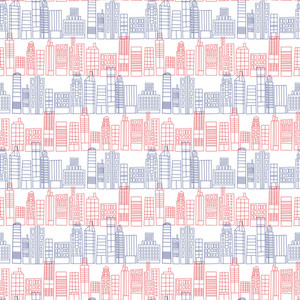 Red And Blue Skyline Pattern On England Paper