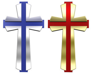 Red And Blue With Gold Frame Christian Cross Isolated On White.