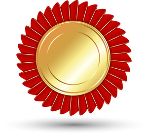 Red And Golden Badge