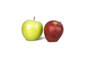 Red And Green Apples On White Background