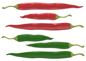 Red And Green Hot And Spicy Chilli Peppers . Vector.