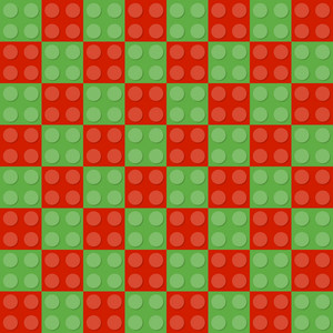 Red And Green Square Lego Pattern