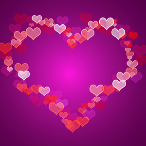 Red And Mauve Hearts Background With Copy Space Showing Love Romance And Valentines