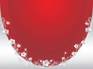 Red And Silver Floral Wallpaper
