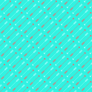 Red And White Arrows Pattern On A Turquoise Background