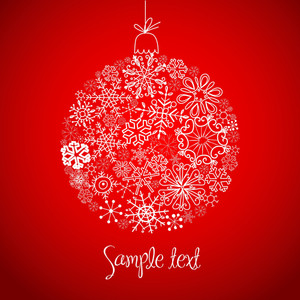 Red And White Christmas Ball Illustration.-