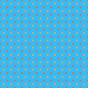 Red And Yellow Polka Dots Pattern On A Blue Background