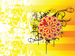 Red And Yellow Target With Arrow