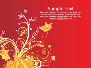 Red Background With Grungy Floral