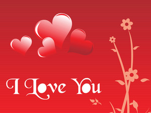 Red Background With Heart And Floral Elements