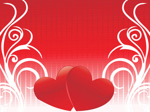 Red Background With Heart And Waves Elements