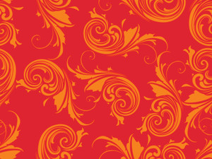 Red Background With Orange Floral