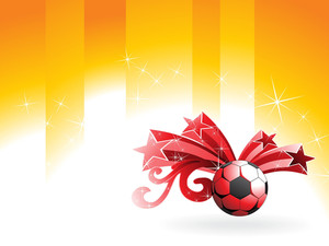Red Ball With Curve Design And Star