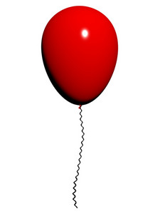 Red Balloon On White Background With Copyspace For Party Invitation