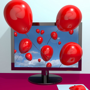 Red Balloons In The Sky And Coming Out Of Screen For Online Greeting Or Message