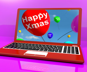 Red Balloons With Happy Xmas On Computer For Online Greetings