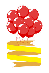 Red Balloons With Ribbon Banner