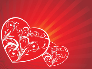 Red Banner With Floral Heart