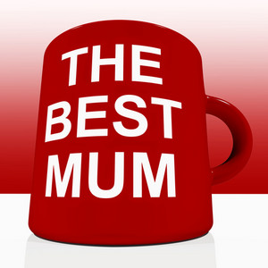 Red Best Mum Mug On Table Showing A Loving Mother