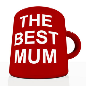 Red Best Mum Mug Showing A Loving Mother