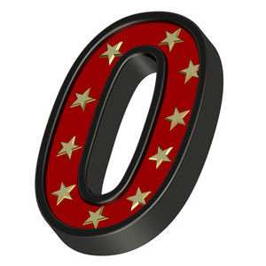 Red-black Digit With Stars Isolated On White.