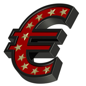 Red-black Euro Sign With Stars Isolated On White