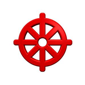 Red Buddhism Symbol.