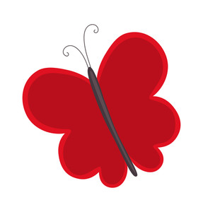Red Butterfly Shape Design