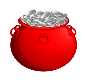 Red Cauldron With Silver Coins