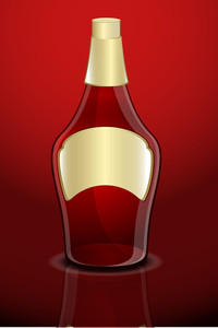 Red Champaign Bottle Vector Shape