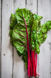 Red Chard On Wooden Background