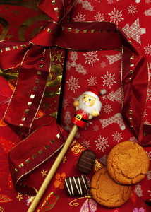 Red Christmas Background Made Of Wrapping Paper