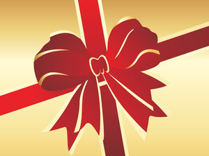 Red Christmas Bow On Golden Background